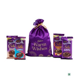 Warm Wishes Satin Potli Large With Video Personalisation - Choose Your Mix