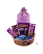Warm Wishes Cane Basket with Brass Diya - Choose Your Mix