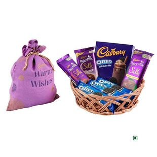 Warm Wishes Cane Basket with Jute Potli-Choose Your Mix