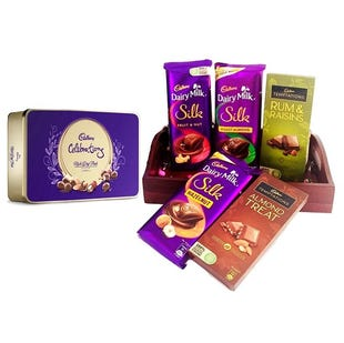 Cadbury Rich Dry Fruit Gift Hamper with Wooden Tray - Personalised Pack