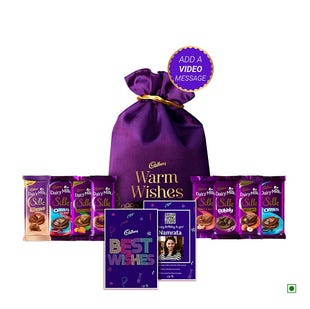 Cadbury Premium Gift Bag with Satin Potli - Large Pack with Video Personalisation (Create Your Own Mix)